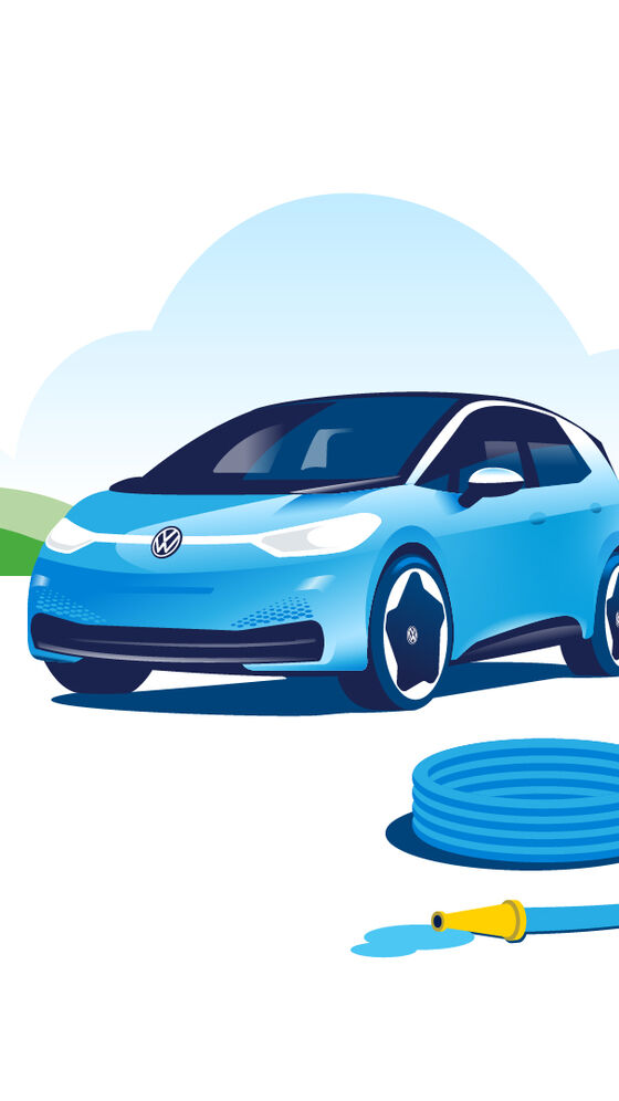There is a water hose in front of a Volkswagen ID.3.